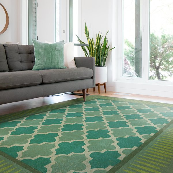 Soft Teal, Distressed Lime - Aladdin Contemporary / Modern Area Rug
