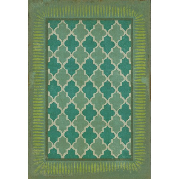 Teal, Lime Green Contemporary / Modern Area Rug