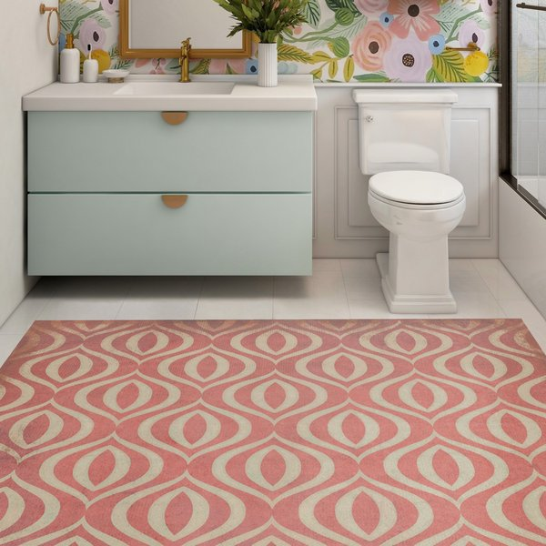 Distressed Red, Antiqued Ivory - Genie Contemporary / Modern Area-Rugs