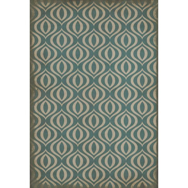 Teal, Ivory Contemporary / Modern Area Rug