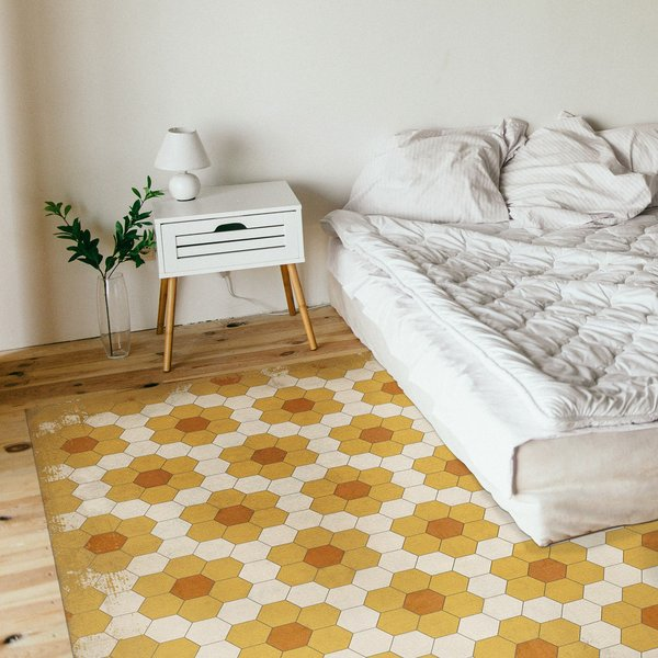 Distressed Gold, Soft Ivory - Pushing up Daisies Floral / Botanical Area-Rugs