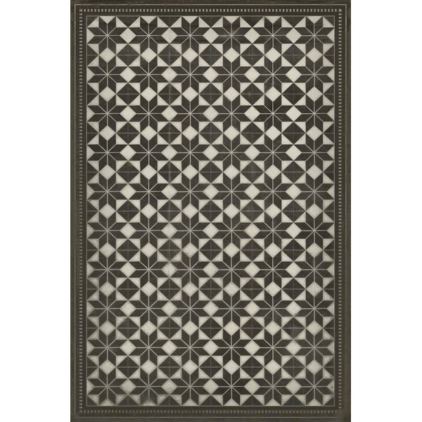 Distressed Black, Antiqued Ivory Contemporary / Modern Area Rug