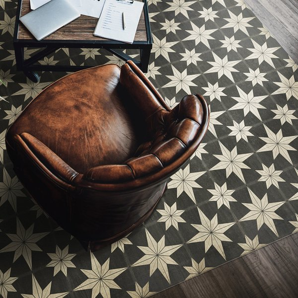 Distressed Black, Antiqued Ivory - Vesper Contemporary / Modern Area-Rugs