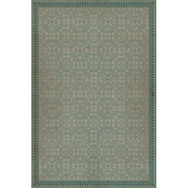Muted Teal, Antiqued Ivory - Alice in Wonderland Contemporary / Modern Area Rug