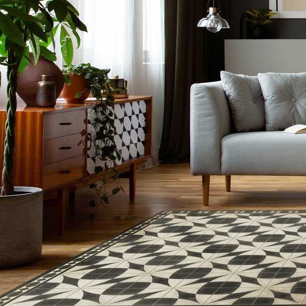 Antiqued Ivory, Distressed Black - Voltaire Contemporary / Modern Area Rug