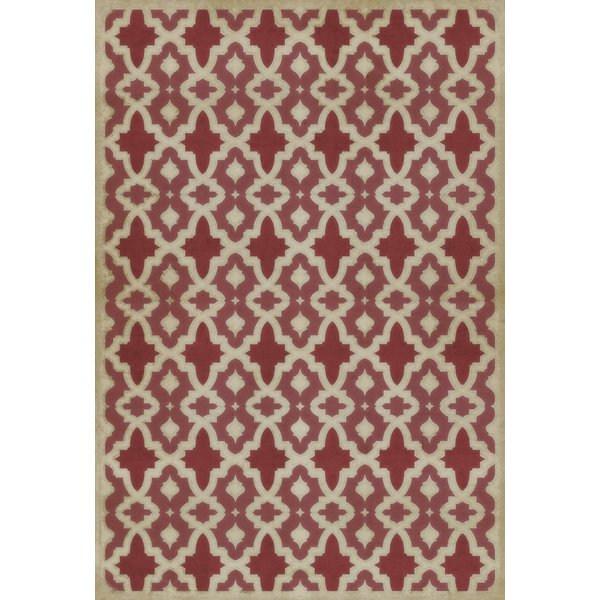Brick Red, Ivory Contemporary / Modern Area Rug