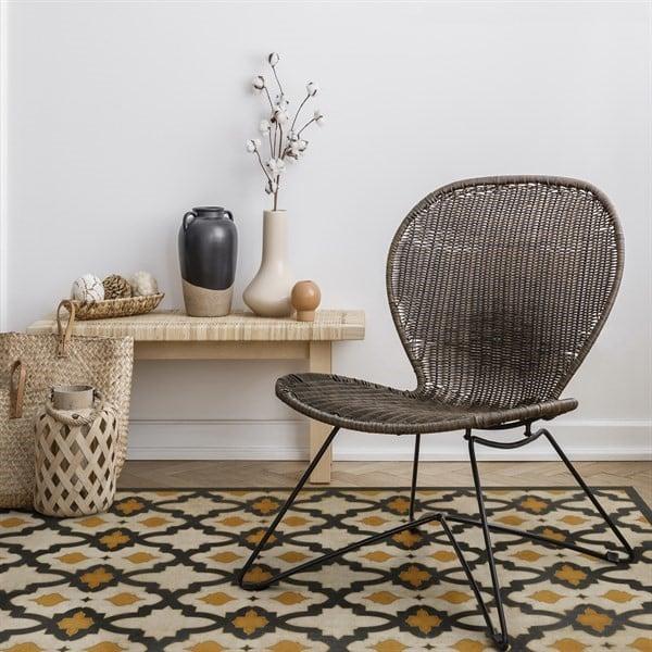 Gold, Black Contemporary / Modern Area Rug