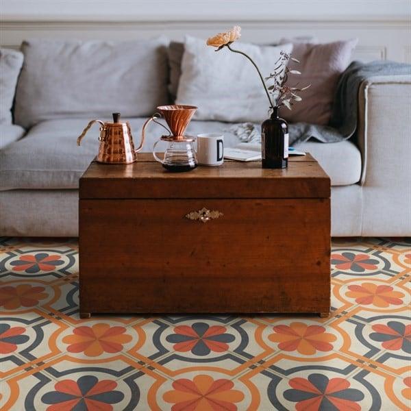Orange, Grey Contemporary / Modern Area Rug