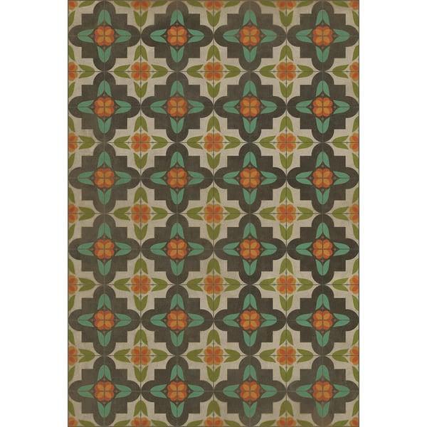 Distressed Cream, Green, Orange Contemporary / Modern Area Rug