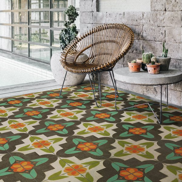 Distressed Cream, Green, Orange - Annas Garden Contemporary / Modern Area-Rugs