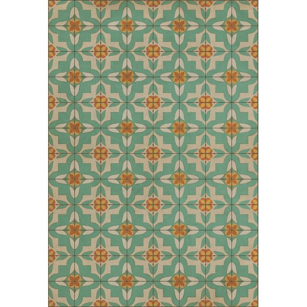 Teal, Distressed Ivory Contemporary / Modern Area Rug