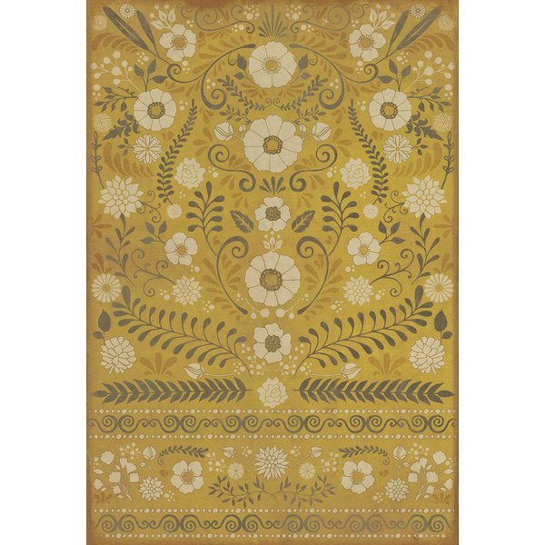 Muted Gold, Soft Ivory - We are only Half Awake Floral / Botanical Area-Rugs