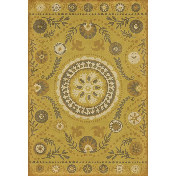 Yellow, Brown Floral / Botanical Area Rug