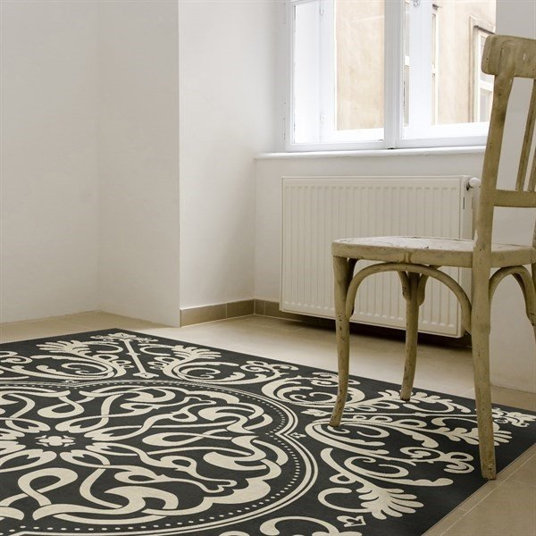 Distressed Black, Ivory Contemporary / Modern Area Rug