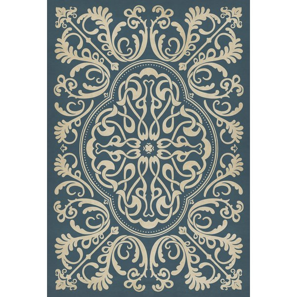 Navy, Ivory Contemporary / Modern Area Rug