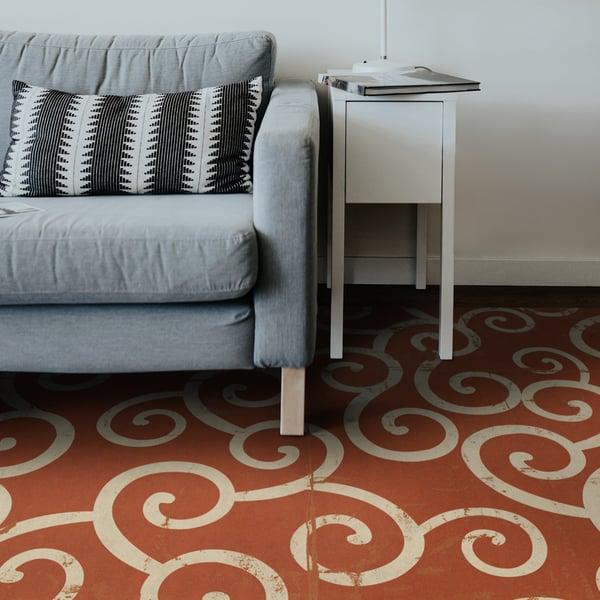 Distressed Orange, Antiqued Ivory - Captain Nemo Contemporary / Modern Area-Rugs