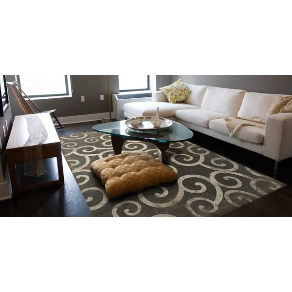 Brown, Ivory Contemporary / Modern Area Rug