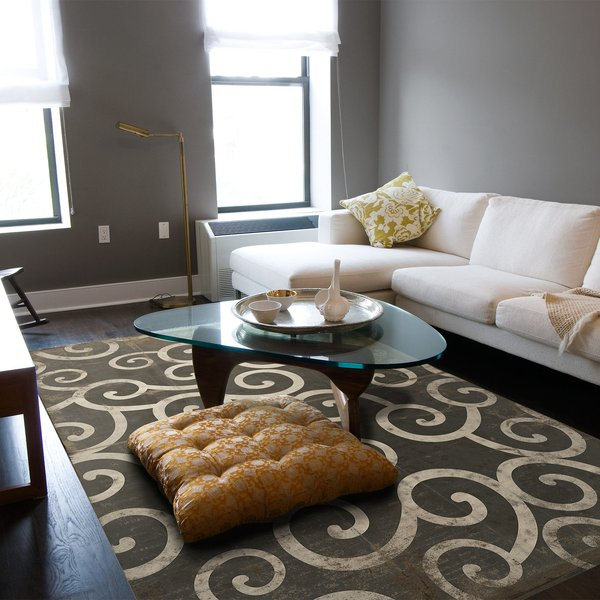 Antiqued Black, Brown, Ivory - A Dark Stormy Night Contemporary / Modern Area-Rugs