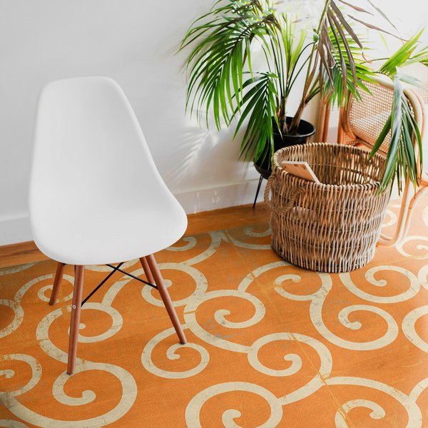 Distressed Orange, Muted Ivory - Salt Water Taffy Contemporary / Modern Area-Rugs