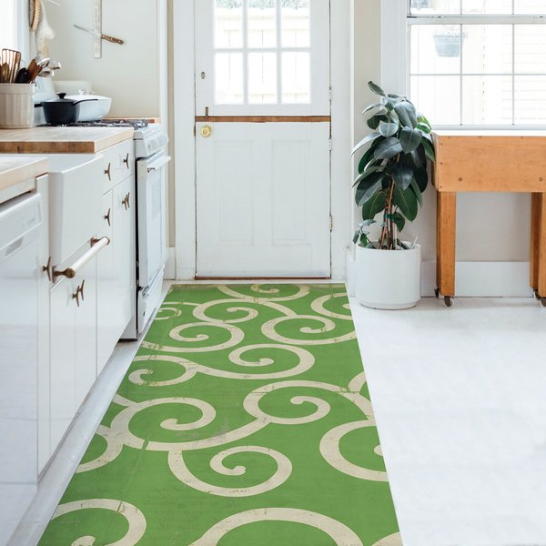 Distressed Green, Warm Ivory - The Sea of Green Contemporary / Modern Area-Rugs
