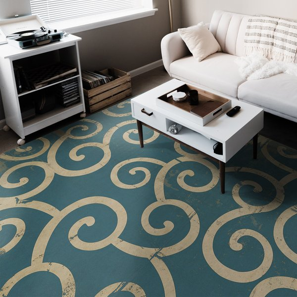 Distressed Blue, Antiqued Ivory - Tsunami Contemporary / Modern Area-Rugs