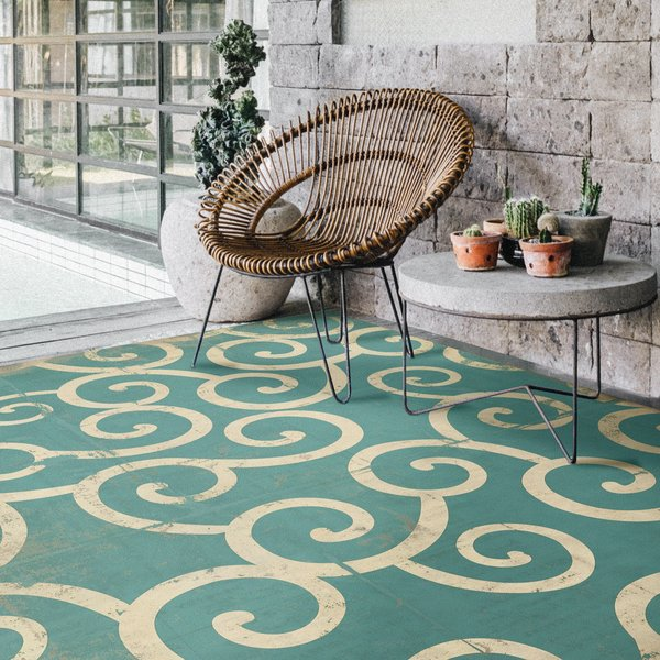 Teal, Distressed Ivory - 20000 Leagues Contemporary / Modern Area-Rugs