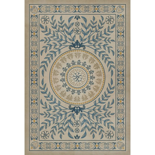 Blue, Distresssed Ivory Floral / Botanical Area Rug