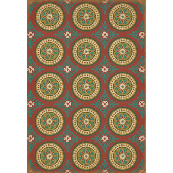 Red, Green Contemporary / Modern Area Rug