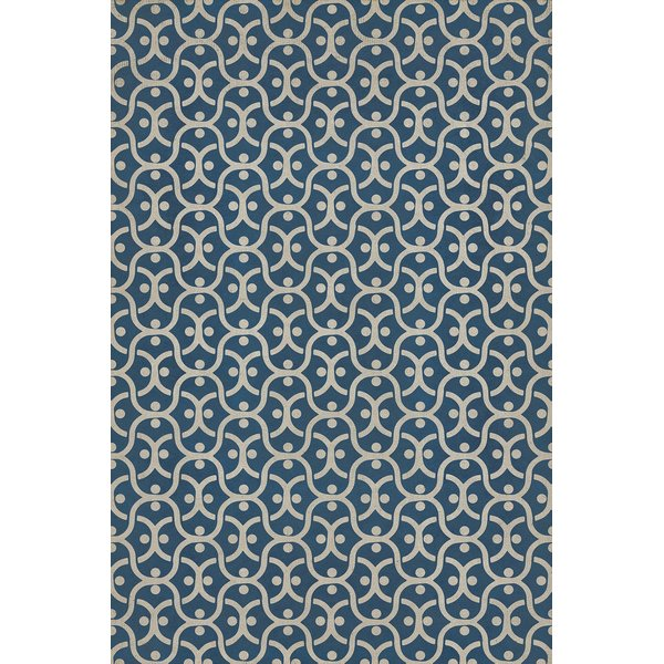 Navy Blue, Ivory Contemporary / Modern Area Rug