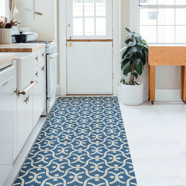Navy, Distressed Ivory - A Beautiful Mind Contemporary / Modern Area Rug