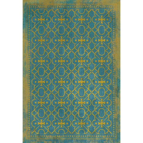 Blue, Gold Contemporary / Modern Area Rug