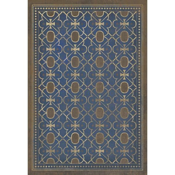 Royal Blue, Brown Contemporary / Modern Area Rug