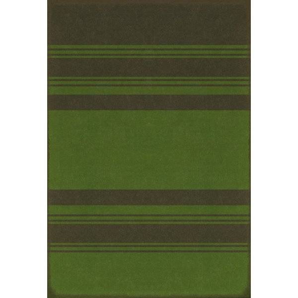 Distressed Black, Muted Green Striped Area-Rugs