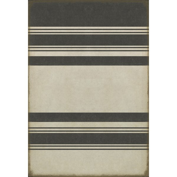Distressed Black, Antiqued White Striped Area-Rugs