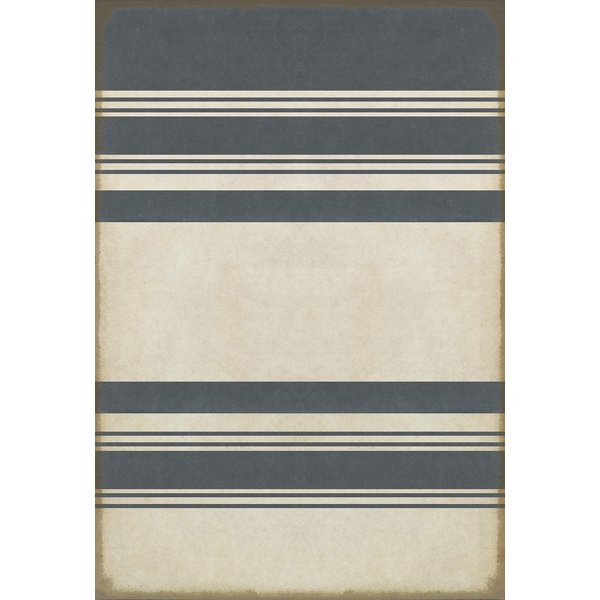 Distressed Blue, Antiqued White Striped Area-Rugs