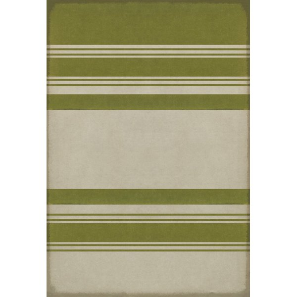 Distressed Green, Antiqued White Striped Area-Rugs