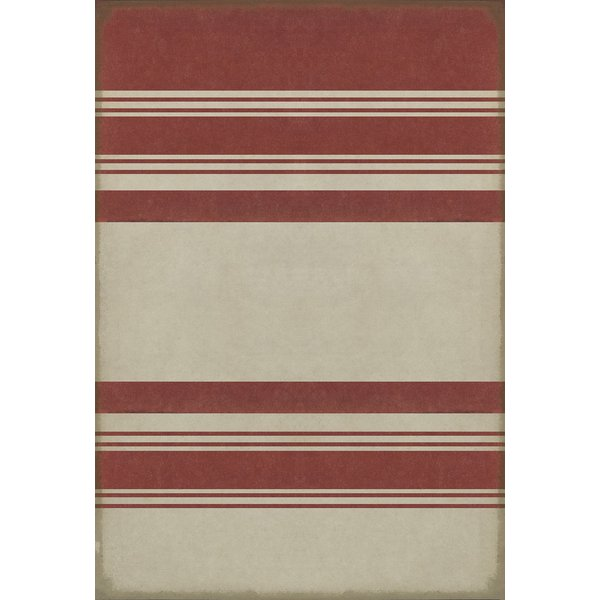 Distressed Red, Antiqued White Striped Area-Rugs