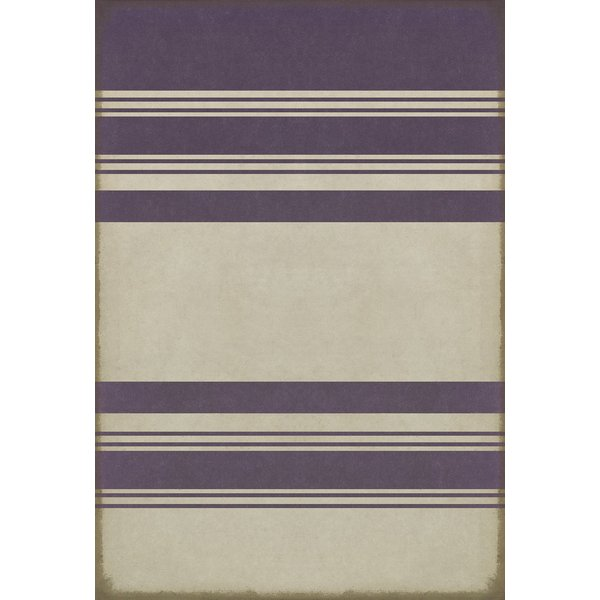 Antiqued White, Distressed Purple Striped Area-Rugs