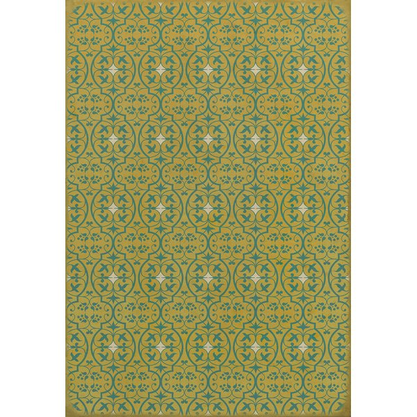 Yellow, Teal Contemporary / Modern Area Rug