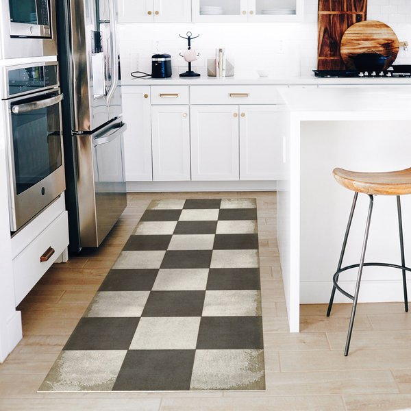 Distressed Black, Brown, Ivory - Checkered Past Geometric Area-Rugs