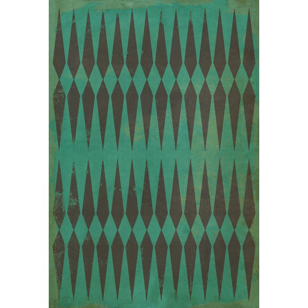 Green, Black Contemporary / Modern Area Rug