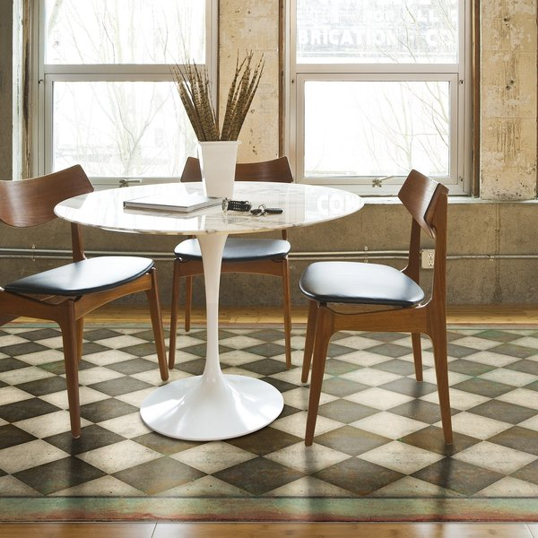 Antiqued Brown, Muted Green, Ivory - Checkmate Geometric Area Rug