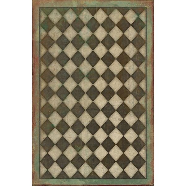 Antiqued Brown, Vintage Green Geometric Area Rug