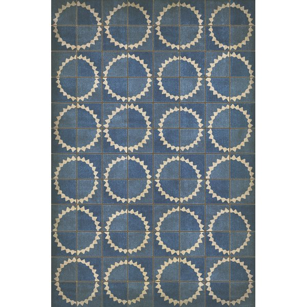 Distressed Blue, Antiqued Ivory Contemporary / Modern Area Rug