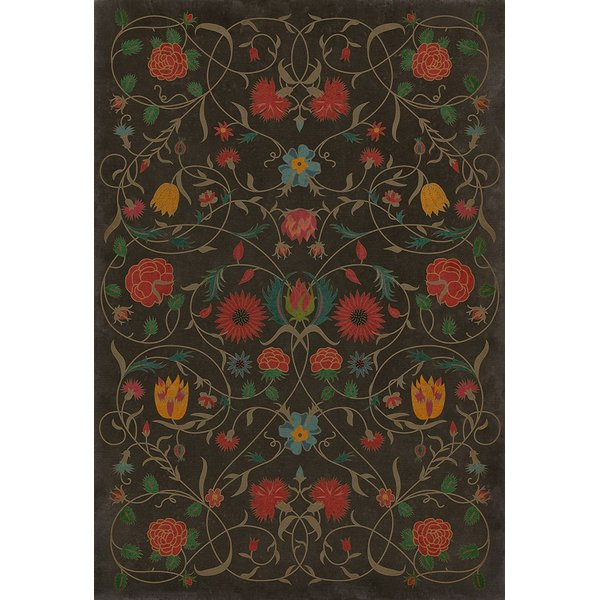 Distressed Chocolate, Red, Green - Susannah Floral / Botanical Area-Rugs