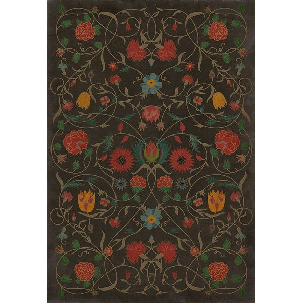 Distressed Chocolate, Red, Green (Susannah) Floral / Botanical Area Rug