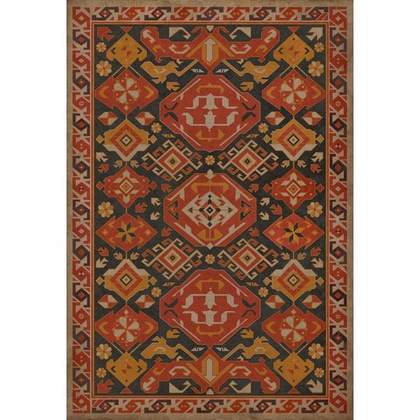 Orange, Gold, Distressed Black (Paprika) Southwestern Area Rug