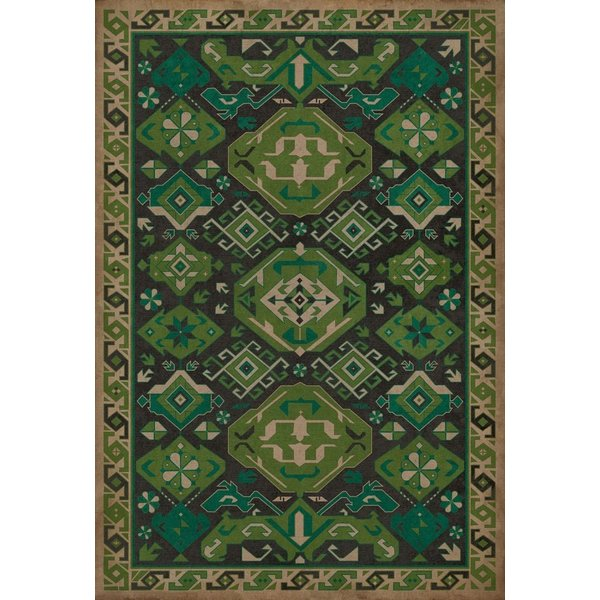 Cream, Green, Distressed Black (Thyme) Southwestern Area Rug