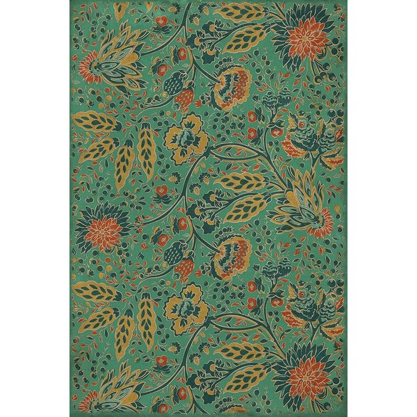 Green, Mustard, Orange (Happy Little Stone) Floral / Botanical Area Rug