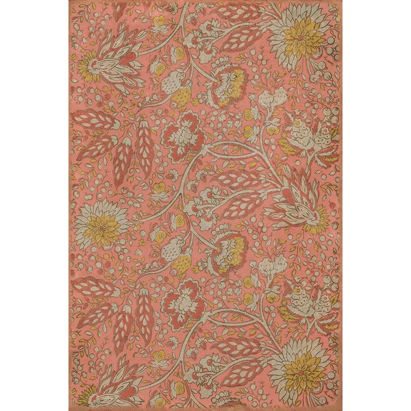 Pink, Yellow, Cream - Love and Folly Floral / Botanical Area-Rugs